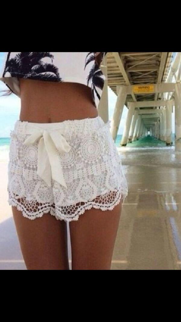 shorts shirt white lace summer