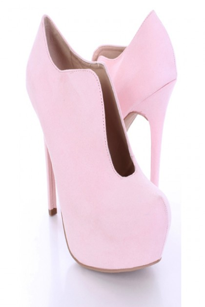 Pink Faux Suede Slit Front Booties