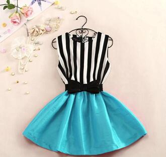 dress stripes striped dress blue dress bows black and white cute dress cute blue skirt jeans