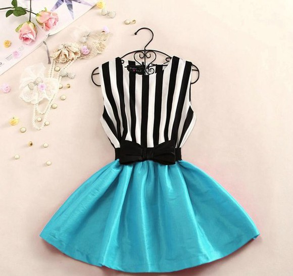 stripes striped dress bows blue skirt want want want cute dress black and white blue dress cute dress