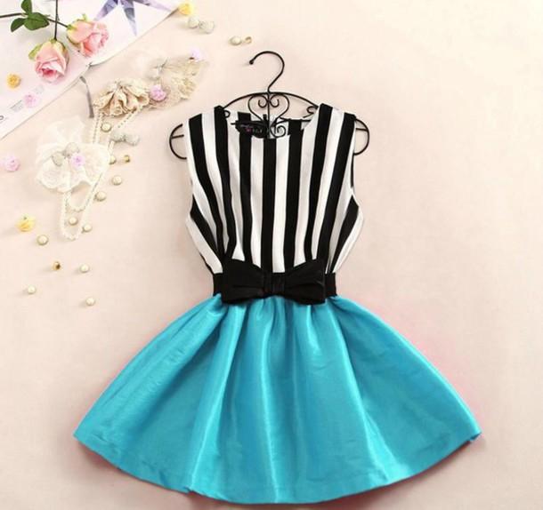 dress stripes striped dress blue dress bows black and white cute dress cute blue skirt jeans