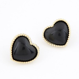 Korean Fashion Golden Rim Heart Shape Ear Studs - Black