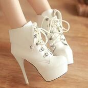 shoes,whitw,white,boots,ankle boots,heels,booties,platform lace up boots,high heels,girly,classy