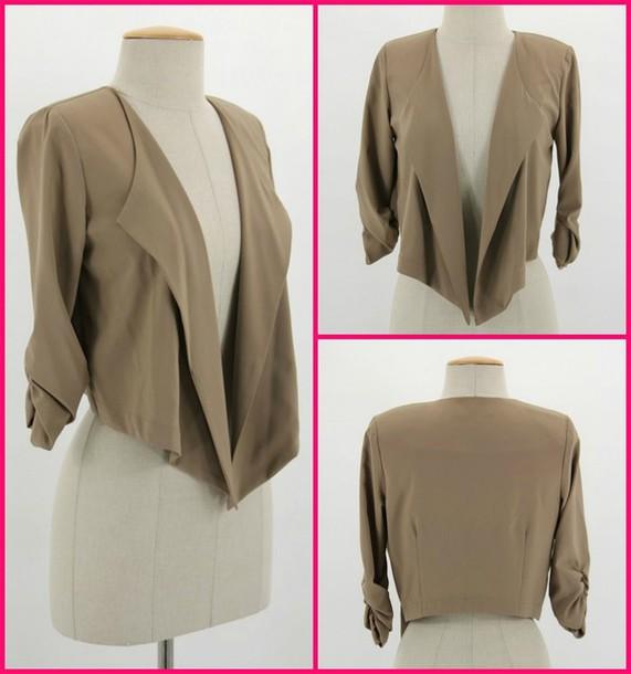 camel beige girly girl cute classy blazer jacket spring