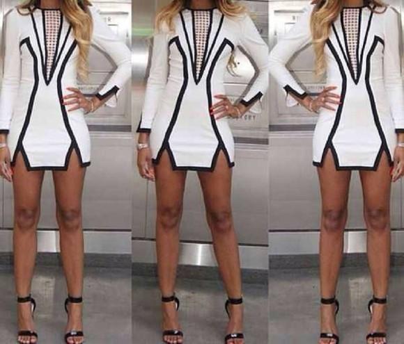 asymmetrical ciub dress above knee-mini stripes sheath long-sleeved sheathsexy