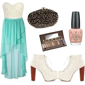 dress bralette bustier high-low dresses turquoise shoes pumps clutch