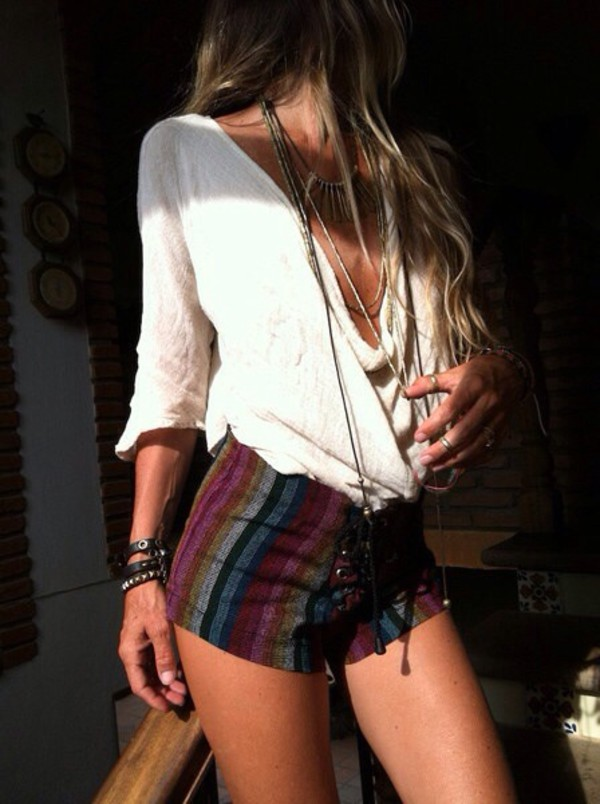three-quarter sleeves boho boho patterns shorts bag hippi shorts lace up sides pants boho chic
