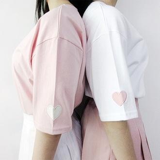 blouse pink white cute skirt cute top best friends t-shirts cute bff shirts