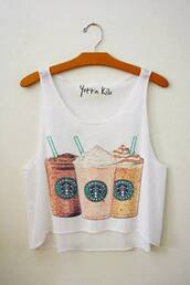 tank top,clothes,brand,starbucks coffee,crop,top,frappuccino,cute,white,print,t-shirt,shirt,starbuck,undefined,fashion,funny t-shirt,strarbucks,style,funny,white tank top,blouse,summerlife,summerhype,refreshing,coffee,white crop tops,high low shirt,crop tops,cotton,trendy,starbucks top,loose tshirt,yotta kilo,tanks,teenagers,summer,cool,tumblr