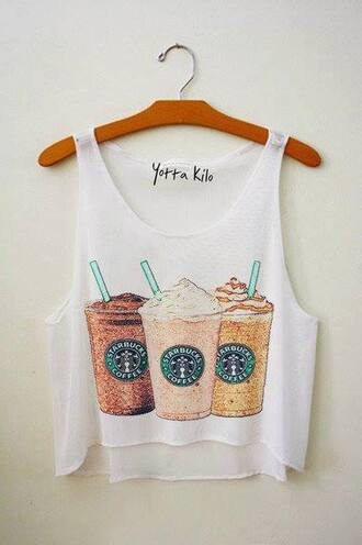 tank top clothes brand starbucks coffee crop top frappuccino cute white print t-shirt shirt starbuck undefined fashion funny t-shirt strarbucks style funny white tank top blouse summerlife summerhype refreshing coffee white crop tops high low shirt crop tops cotton trendy starbucks top loose tshirt yotta kilo tanks teenagers summer cool tumblr