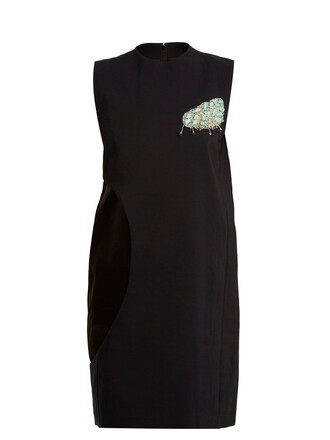dress sleeveless cut-out embellished navy