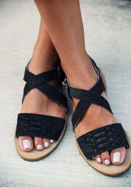 sandals perfect shoes flats black flat sandals leather croco vintage style