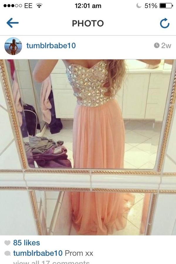 dress prom dress rhinestones orange dress formal dress homecoming dress