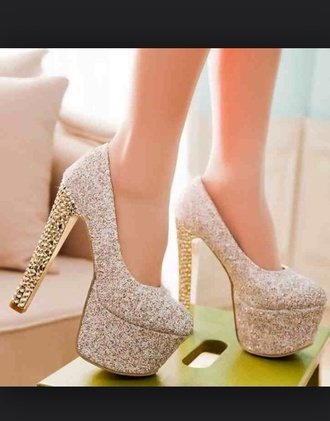 shoes beigeheels sparkle heels style glitter shoes prom dress homecoming dress pumps wedges red dress hot pants glitter women shoes gold prom shoes high heels