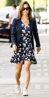 dress,floral,floral dress,pippa middleton,sneakers,blazer,streetstyle,celebrity,spring outfits,spring dress
