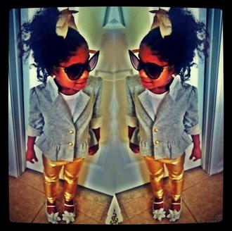 leggings girl toddler kids fashion girly gold sunglasses little diva