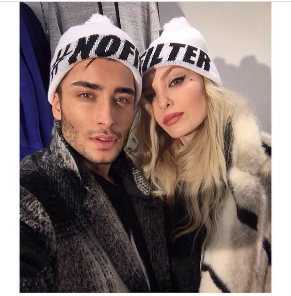 hat beanie white black ig famouse instagram nofakes couples shirts bcfa3eb0015