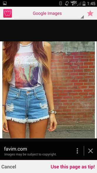 tank top good vibes only good vibes t-shirt t-shirt with print letter t-shirts high waisted shorts ombre hair summer top
