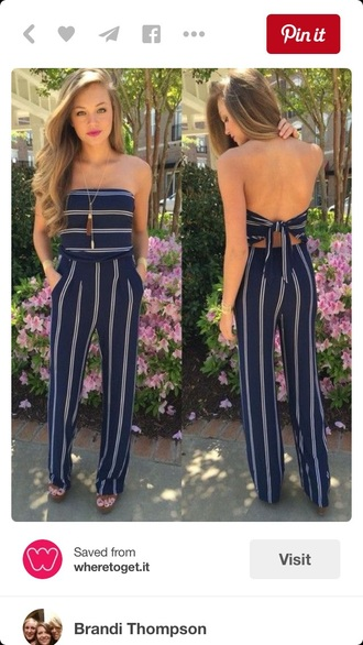 romper bodysuit strapeless vertical stipes stripes style fashion one piece outfit navy