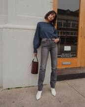 jeans,straight jeans,grey jeans,high waisted jeans,ankle boots,white boots,handbag,basket bag,crocodile,sweater,earrings