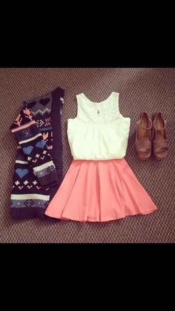 sweater dress skirt white and peach cardigan
