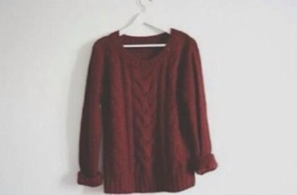 vintage grunge red hipster sweater bordeaux oversize
