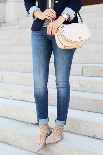 lilly's style blogger jacket jeans t-shirt bag jewels