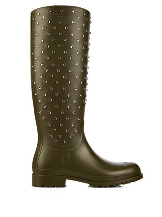studded boots green shoes