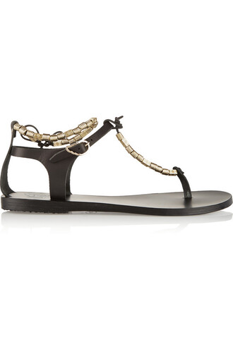 beaded sandals leather sandals leather black shoes