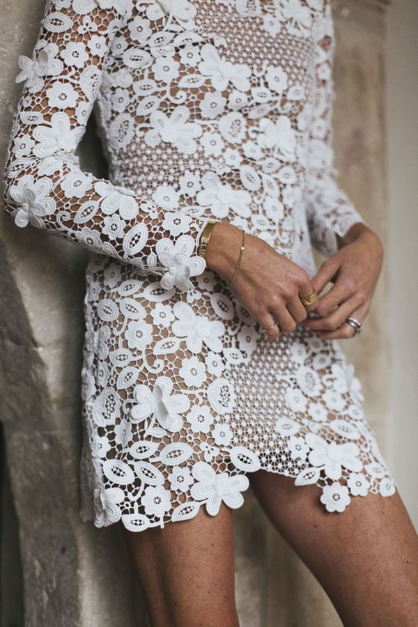 dress bracelets tumblr mini dress little white dress white dress white lace dress lace dress long sleeves long sleeve dress eyelet detail eyelet dress gold bracelet ring gold ring jewels jewelry gold jewelry all white everything