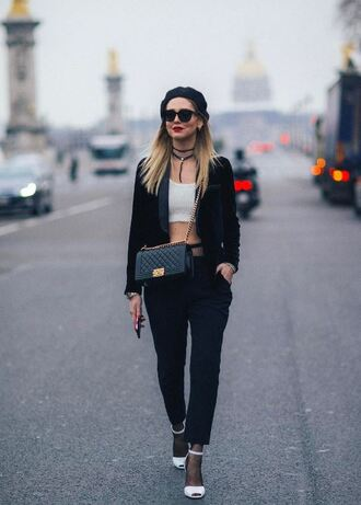 pants top choker necklace crop tops sandals chiara ferragni fashion week 2017 streetstyle blogger the blonde salad fashion week