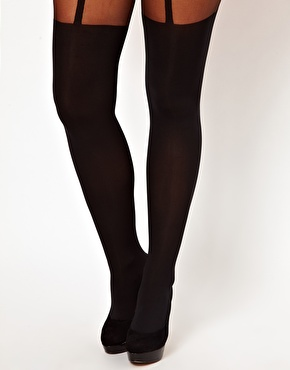Pretty polly curves mock suspender tights at asos