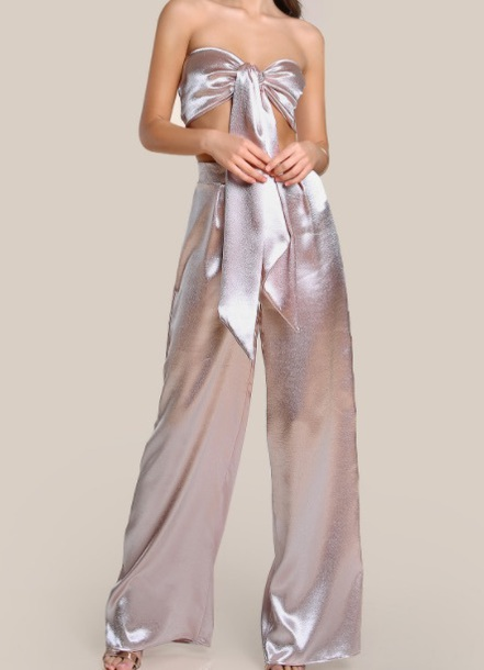 jumpsuit bow girly two-piece bandeau top pants silk satin trendy e3b7857a9