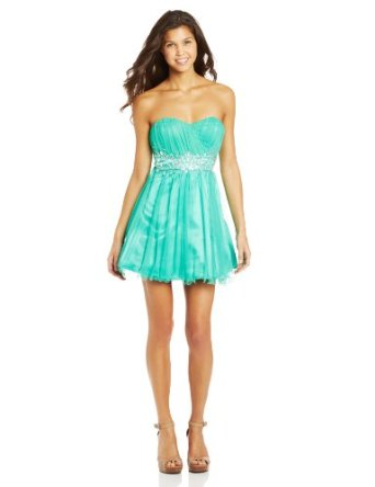 Amazon.com: Sequin Hearts by My Michelle Juniors Strapless Lace Up Back Dress with Jewel Waist, Mint, 11: Clothing