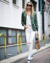 jeans,tumblr,white jeans,skinny jeans,lace up pants,boots,white boots,bag,nude bag,jacket,army green jacket,bomber jacket,khaki bomber jacket,green bomber jacket,top,white top,streetstyle