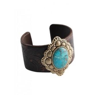 Turquoise & Leather Cuff - Elegant Treats