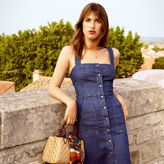 dress reformation reformation dress jeanne damas fashionista denim dress blue dress button up button up dress basket bag straw bag scarf summer dress summer outfits