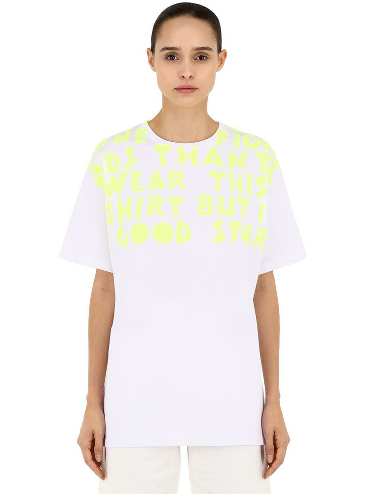 MAISON MARGIELA Oversize Printed Cotton Jersey T-shirt in white