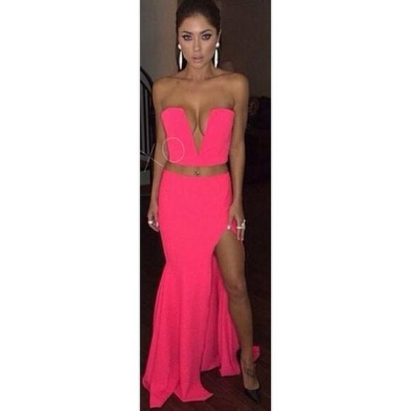 skirt slit slit skirt neon hot pink two-piece slit leg slit dress strapless