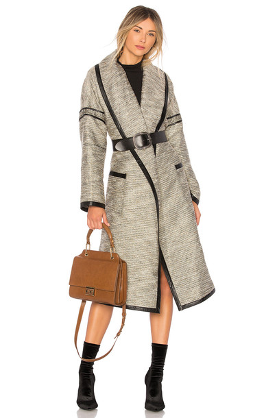 Lovers + Friends coat metallic neutral