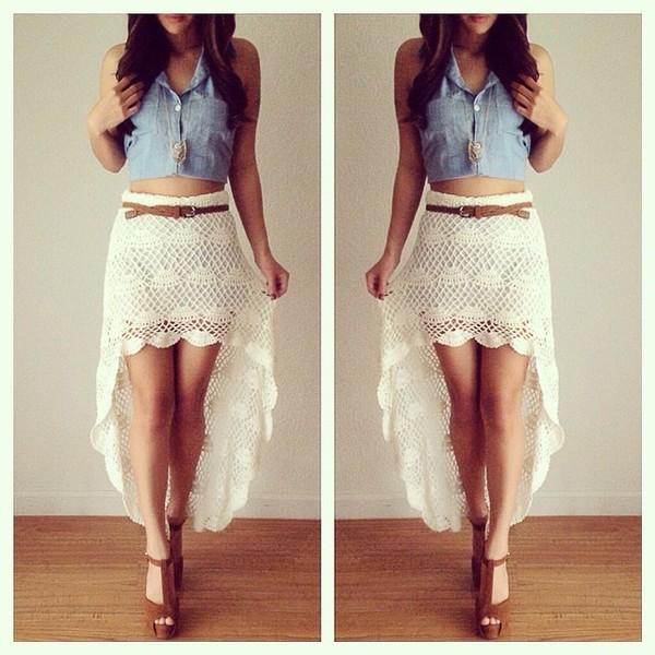 Skirt White Lace Skirt Short Front Long Back Jacket