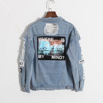 jacket denim jacket denim ripped where is my mind colorful ripped jacket image on back image