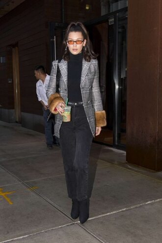 jacket boots bella hadid turtleneck model off-duty winter outfits shoes