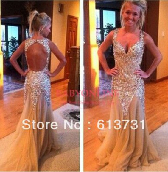 prom dress sparkly dress gold sequins promdress2014 open back prom dress prom gown