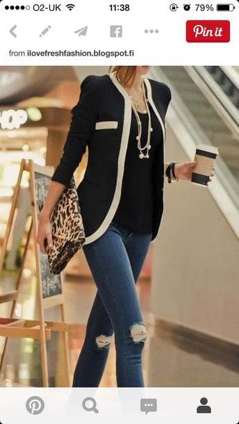 jacket blazer black jacket smart coat monochrome fashion look