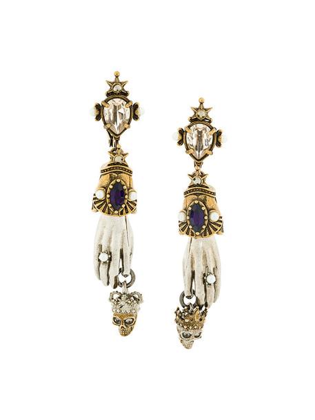 Alexander Mcqueen women king earrings yellow orange jewels