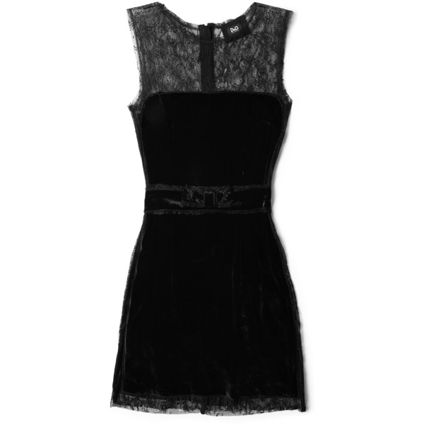 D&G Velvet Panel Lace Mini Dress - Polyvore