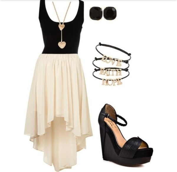 dress clothes high-low dresses light cream color black white skirt