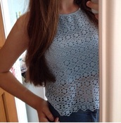 top,blue lace shirt