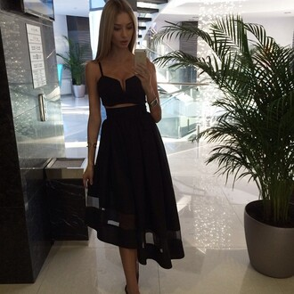dress beautiful whole oufit skirt top black asymmetrical skirt formal crop tops chiffon elegant make-up office chiffon skirt